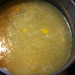 Add chicken broth and powdered or paste chicken base and heat to boiling.